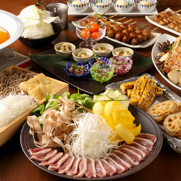京鴨鍋と鶏焼肉コース
